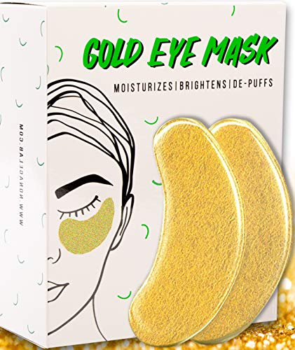 Under Eye Gold Eye Mask - Energizing, Moisturising 24k Gold Collagen Patches for Reducing Dark Circles Puffiness Undereye Bags, Wrinkles | Vegan, All-Natural (15 Pairs) -