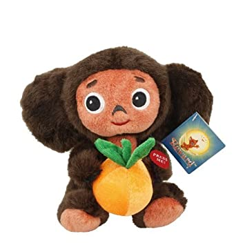 Cheburashka 18 cm habla en ruso / peluche con naranja / Orange