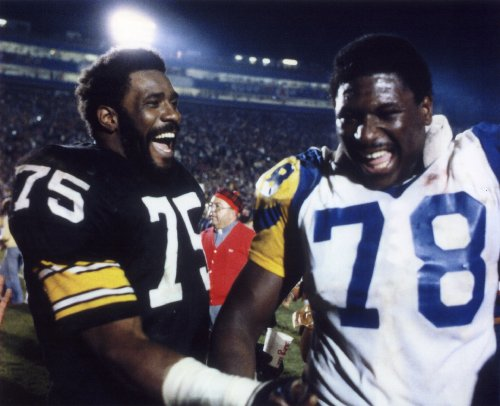 MEAN JOE GREENE PITTSBURGH STEELERS & JACKIE SLATER LOS ANGELES RAMS 8X10 SPORTS ACTION PHOTO (A)
