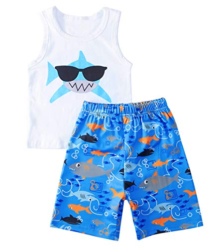 uideazone Baby Boys Shorts Clothing Sets FUUNY Shark with Sunglass Print Top and Short Pants Summer Sleeveless Cotton Outfit Suit 18-24 ()