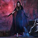 Gillberry Women Witch Black Long Dress Cloak Gloves Set Halloween Cosplay Party Costume Cosplay