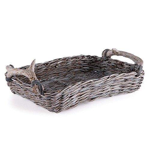Weathered Gray and Beige Faux Antler and Rope Wrapped Handle Handwoven Rectangular Tray by CC Christmas Decor