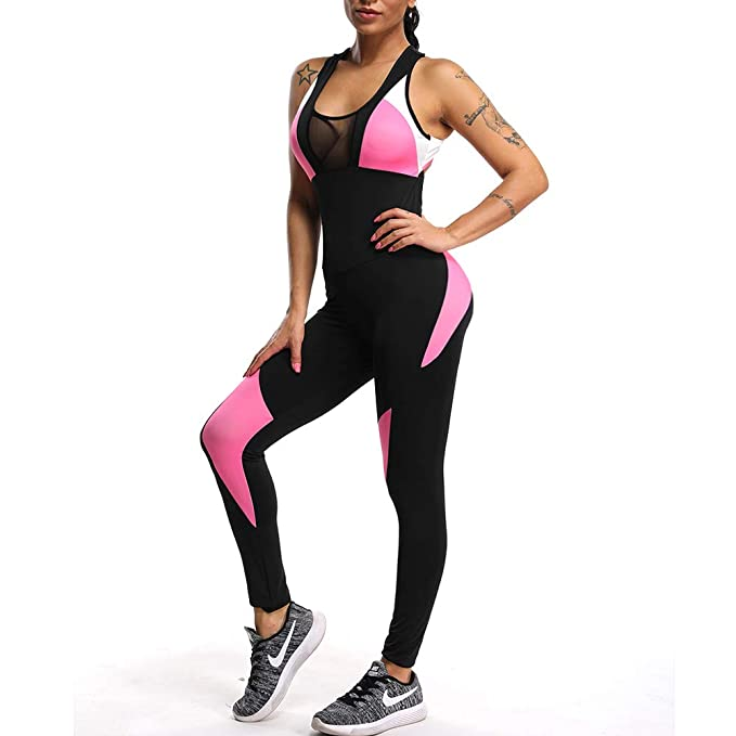 6d5a4aae79c9 Fittoo Women Sport Bodysuit Yoga Catsuit One Pieces Tight Romper Active  Wear -(S)