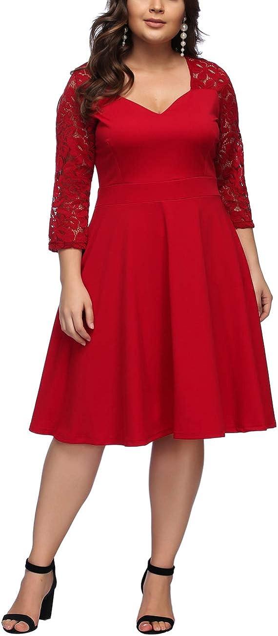TALLA 4XL/ES 58-60. FeelinGirl 1950 Año Retro A-Línea Falda de Fiesta para Mujer Encaje-tinto 4XL/ES 58-60