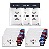 15 RFID Blocking Sleeves, 12 RFID Blocking Credit Card Sleeves & 3 Passport RFID Security Holders suit, Identity Theft Protection Sleeve set for Men & Women. Fits all Wallet and Purse. (15PCS)
