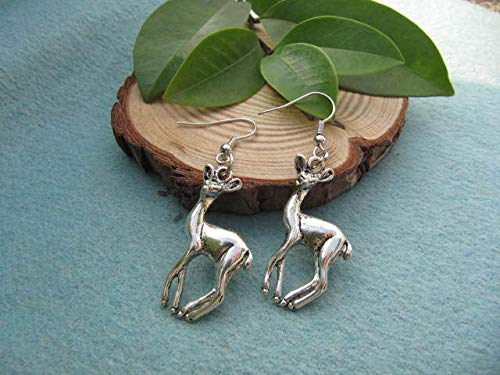 Ancient Silver Deer Earrings Vintage Style Antique Jewelry Steampunk Gift (Ancient Deer)