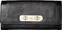 Coach Women S Swagger Slim Envelope Li Black Checkbook Wallet
