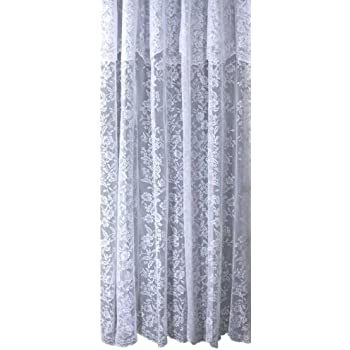 Ricardo Romance Lace Ivory Lace Fabric Shower Curtain With Attached Valance  Is 70 Inch Wide X 72  Inch Long