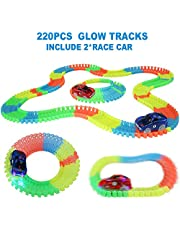 Nuheby Circuito Coches Carreras Pista de220pcs Flexible Juguete Construcción DIY LuminosaPista de Coches con 2 Coches de Juguetes para 3 4 5 6