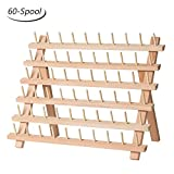 HAITRAL 60-Spool Sewing Thread Rack Wooden Embroidery Thread Organizer