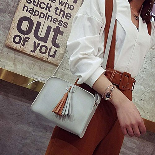 JIANGFU Mode doppelte Troddel Schulter Messenger Bag,Mode Frauen Quasten Leder Handtasche Crossbody Schulter Messenger Zero Münze Tasche (BK) GY