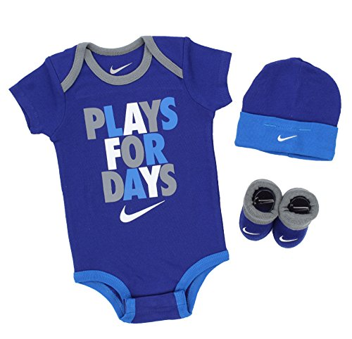 """Nike 3 Piece Infant """"Plays For Days"""" Clothing Set-Bodysuit, Hat, Booties (6-12 Months, Deep Royal Blue)"""