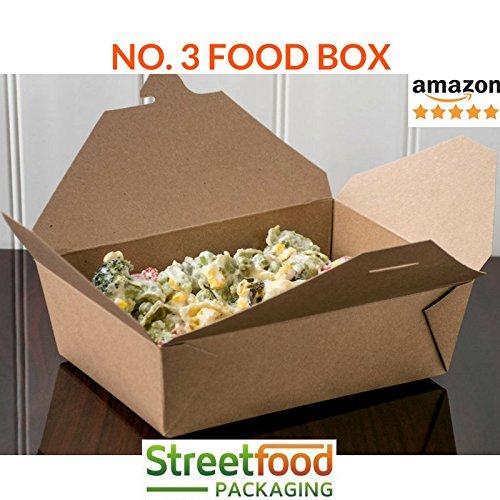 No. 3 Caja de comida de papel para llevar preparada rápida, Cartón biodegradable a prueba de fugas, desechables alimentos, contenedor picnic, cubiertos marron kraft, guardar - 26oz (25 unid.): Amazon.es: Industria, empresas
