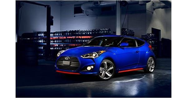 Clásico y músculo anuncios de coche y COCHE arte Hyundai Veloster Turbo R-Spec (2015) coche Póster en 10 mil Archival papel satinado azul parte delantera ...
