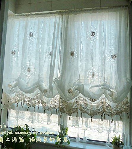 Hughapy Pastoral 58-Inch-by-69-Inch Adjustable Balloon Manual Hook Flower Shade Curtains Best Christmas decor, Off-White (Lace Shades)