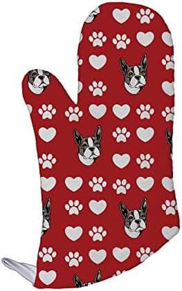 Boston Terrier Dog Red Paw Heart Kitchen Bar Oven Mitt