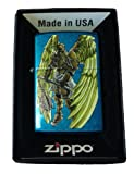 Zippo Custom Lighter - Angel Wings Warrior w/ Flail Weapon Cerulean Blue