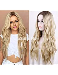 """aSulis Natural Long Wavy Wig Dark Roots Ombre Blonde Wig Middle Parting Synthetic Replacement Wig 24"""" (Blonde)"""