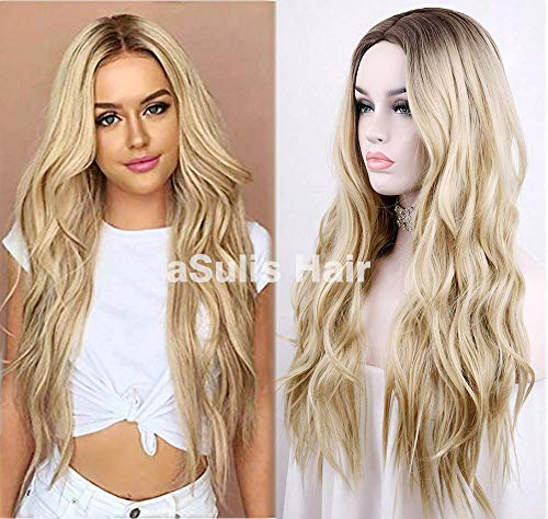 (aSulis Natural Long Wavy Curly Wig Dark Roots Ombre Blonde Wig Middle Parting Synthetic Replacement Wig 24