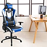 Tongli Video Game Chair Adjustable Height Computer Office Recliner Chair with Neck Pillow and Lumbar Support Black No Footrest Pad