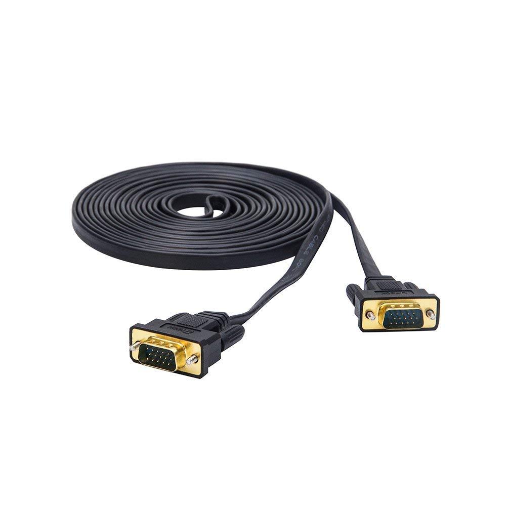 DTECH Ultra Thin Flat VGA Cable 10m Standard 15 Pin Male to Male VGA Cord 30ft