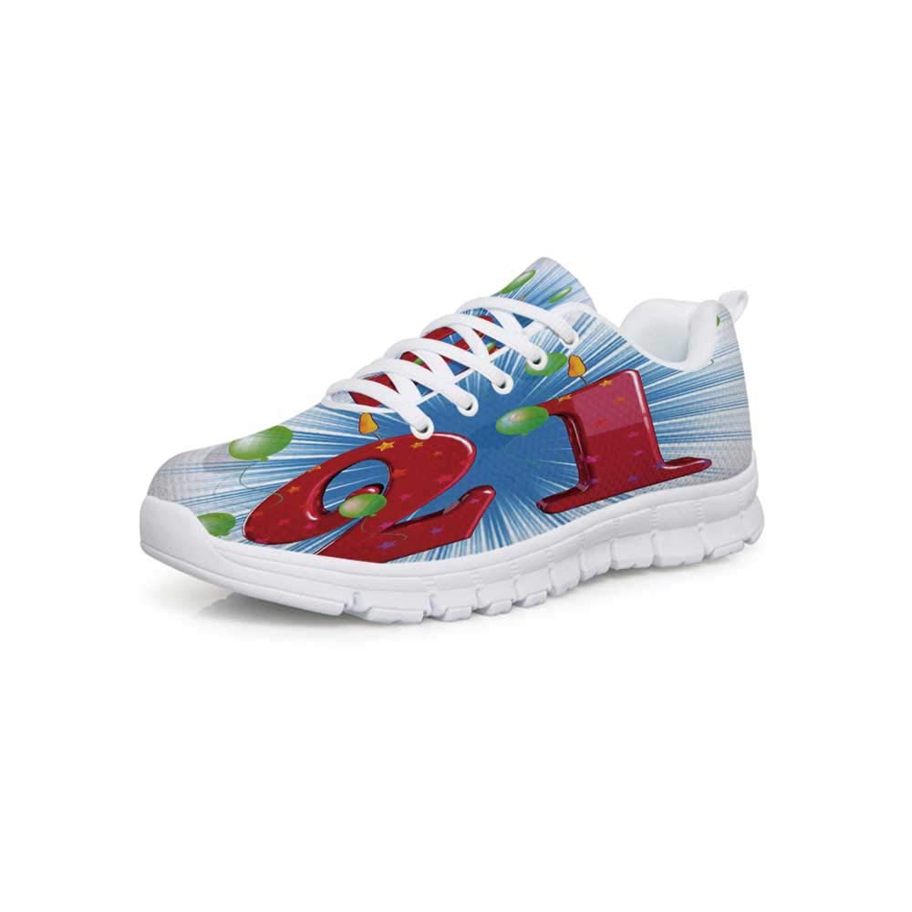 YOLIYANA 20th Birthday Decorations Lightweight Walking ShoesSweet 20 Birthday Party with Colorful Balloons on Blue Backdrop Sneakers for Girls Womens,US 5