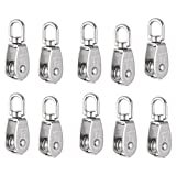 Uxcell a16062200ux0500 Crane Pulley Block M15 Lifting Crane Swivel Hook single Pulley Block Hanging Wire Towing Wheel 10Pcs