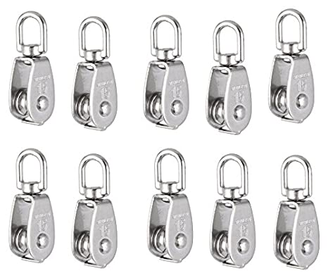 uxcell 5pcs M20 Lifting Crane Swivel Hook Single Pulley Block Hanging Wire Towing Wheel 304 Stainless Steel