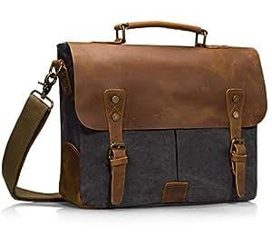 Estarer Canvas Leather Messenger Shoulder Bag for 15.6inch Laptop-Grey 1