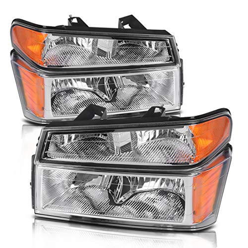 Headlight Assembly for 2004-2012 Chevy Colorado/GMC Canyon Chrome Housing Replacement Headlamps with Bumper Lights - Driver and Passenger Side