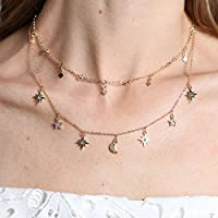 Sumanee Women Star Moon Crystal Choker Necklace Multilayer Chain Gold Summer Jewelry ce