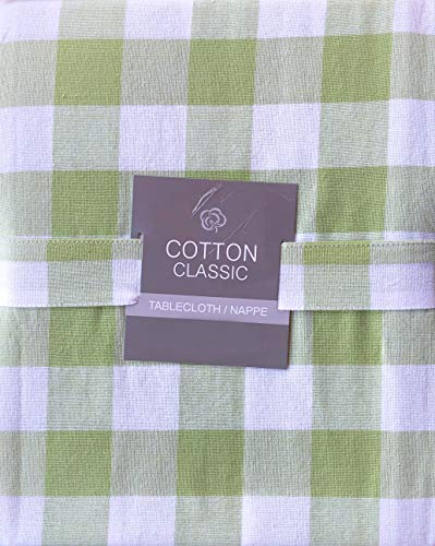 (Cotton Classic Tablecloth Bistro Check Pattern Spring Green and White Checkered Stripes - 60 Inches x 102 Inches)