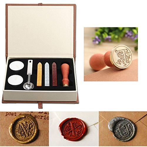 Seal Wax Kit,PUQU Vintage Initial Letters A-Z Alphabet Wax Badge Seal Stamp Kit Wax Set Tool Gift(P)