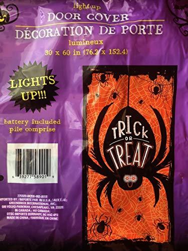 Halloween Door Cover That Lights Up Skull or Spider (Spider) -