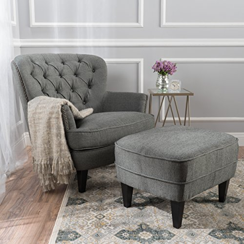 Alfred Grey Fabric Club Chair with Ottoman (Reading Chair Ottoman)