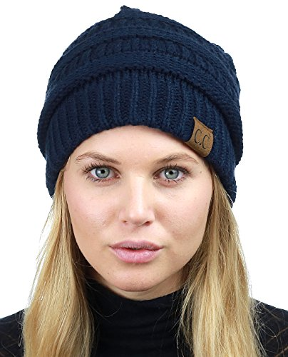 C.C Unisex Chunky Soft Stretch Cable Knit Warm Fuzzy Lined Skully Beanie, Navy