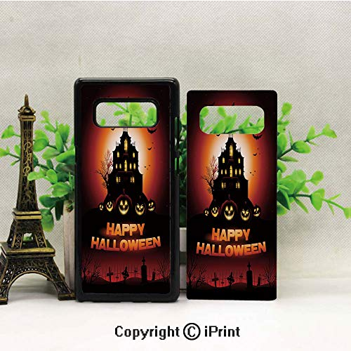 Case for Galaxy note8,Happy Halloween Haunted House Flying Bats Scary Looking Pumpkins Cemetery Decorative Shockproof Series TPU Bumper Protective Case for Samsung Galaxy note8, 2017 Release Print De