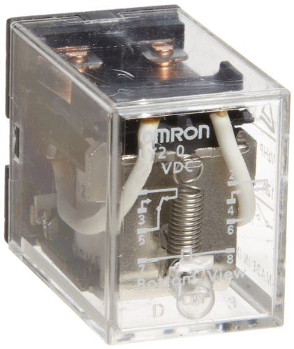 Omron LY2-0-AC110/120 General Purpose Relay, Standard Type, PCB Terminal, Standard Bracket Mounting, Double Contact, Double Pole Double Throw Contacts, 9.9 to 10.8 mA at 50 Hz and 8.4 to 9.2 mA at 60 Hz Rated Load Current, 110 to 120 VAC Rated Load Voltage