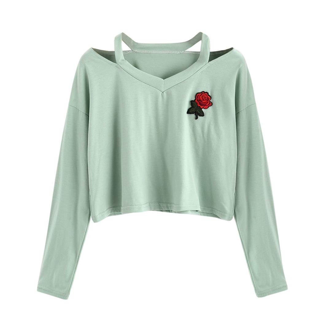 UONQD Women Sweatshirt Rose Print Causal Tops Blouse