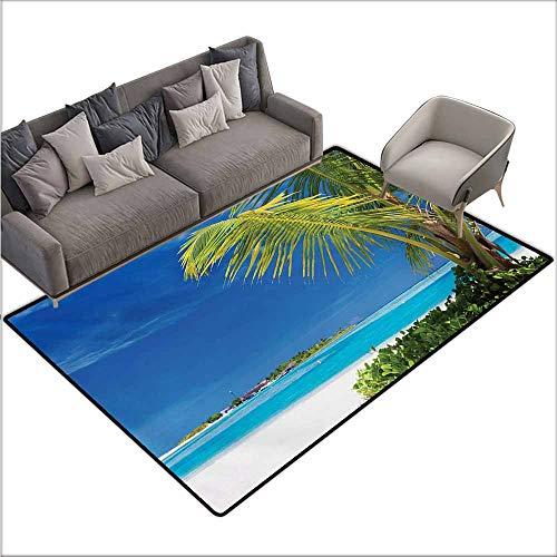 Bedroom Floor Rug Ocean Caribbean Polynesia Tropics Small Palm Trees Relaxing Vacation Seascape Image Anti-Fading W70 xL106 Green Blue - Ocean Multi Tropic Stripes Rug