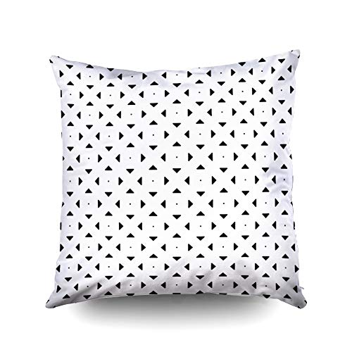 My Pillow Covers,Repeated black polygons on white background Symmetric geometric figures wallpaper Seamless surface pattern design with triangles and squares Tiles motif Digital paper for textile prin