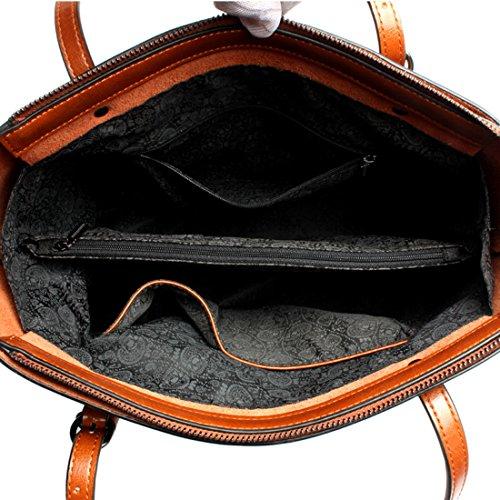 Bags SAIERLONG Black Womens Leather Shoulder Genuine Designer Ladies Brown Tote Handbags awrBaqzx