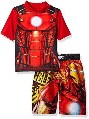 Marvel Little Boys' Iron Man 2-Piece Swim Set, Multi, 4