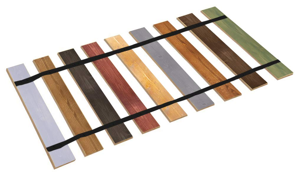 Queen Size Stained Wood Bed Slats with Black Strapping - Cut to The Width of Your Choice - Custom Made in The U.S.A.!