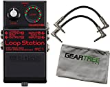 Boss RC-1BK Black Loop Station Compact Pedal Bundle w/2 Patch Cables and Cloth