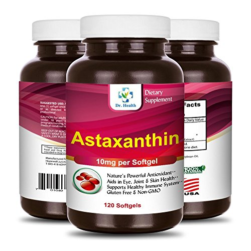 Astaxanthin 10mg 120 Softgels Powerful all Natural Antioxidant & Carotenoid High Purity Extra Strength Aids Eye, Brain, Joint, Skin, Heart Health & Anti-Aging (up to 4 months supply) by (Carotenoid Antioxidant)