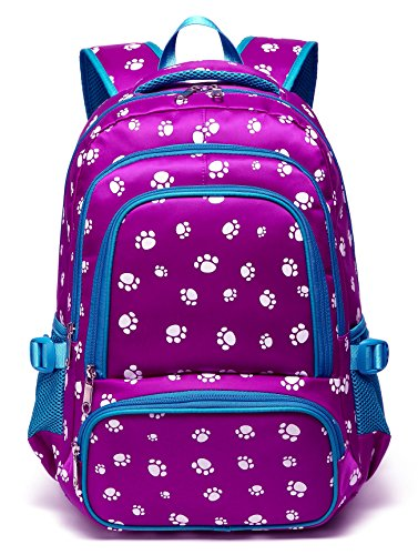 Fashion Girls Backpacks for Kids Elementary School Bag Girly Bookbag Children 17 Inch Nylon Paw Print (Purple&Blue) - Kid Book Bag