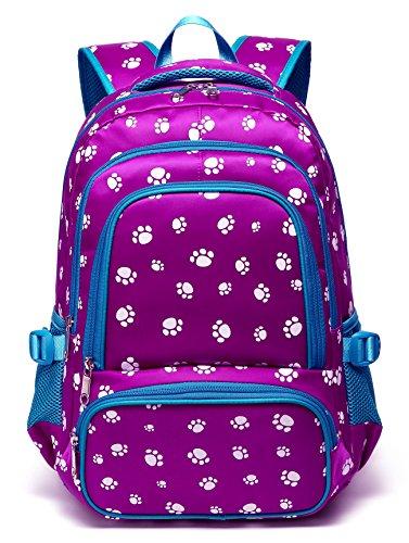 Kids Backpacks for Girls Elementary School Bags Bookbags Lightweight Waterproof Primary(Purple&Blue)