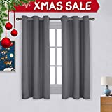 dark grey curtains bedroom NICETOWN Thermal Insulated Grommet Blackout Curtains for Bedroom (2 Panels, W42 x L63 -Inch,Grey)
