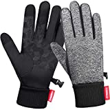 Anqier Winter Gloves,Newest Windproof Warm Touchscreen Gloves Men Women For Cycling Running Outdoor Activities (Grey-A, Large)